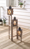 42 in. 3PC Wooden Candle Lanterns Set with 3-Tier Rotating and Foldable Stand