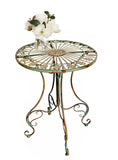 Metal Bistro Table w/ Curved Legs, Scrolling Heart & Peacock Tail Motif