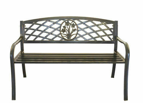 Metal Flower Bouquet Park Bench - Cast Iron Bench for Yard or Garden