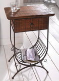 Accent Side Table w/ Wooden Top / Drawer and Metal Bottom Magazine Rack