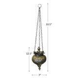 Antique Silver Oriental Metal Hanging Pendant Light Candle Lantern - Small