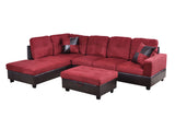 3 Piece Microfiber / Faux Leather Contemporary Left-facing Sectional Sofa Set with Ottoman, 2 Accent Pillows, Carmine Red