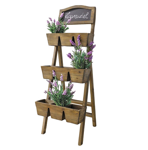 Wood Plant Stand / Flower Shelf for Outdoor or Greenhouse, Three Tiers