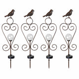 4PK Bird Solar Gazing Ball Garden Stake Lights with Scoll Accent