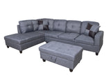 3 Piece Microfiber Contemporary Left-facing Sectional Sofa Set with Ottoman, 2 Accent Pillows, Gray
