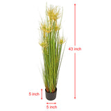 "Artificial 43 in Reed Grass w/ Black Pot - ""White Flower"""