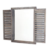 Rustic Shuttered Mirror with Wooden Frame
