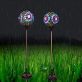 2PK Solar Mosaic Glass Globe Garden Stake Lights - Blue