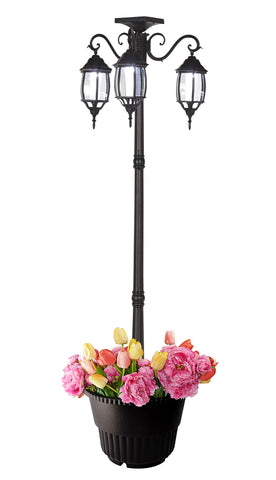 6.6 ft (79 in) Tall Solar Lamp Post and Planter - 3 Heads, White LEDs, Black