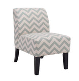 Contemporary Chevron Print Zig Zag Wave Upholstered Armless Accent Chair, Single