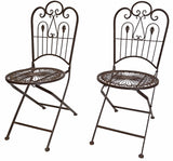 Provence Metal Folding Garden Bistro Chairs - Warm Brown, Set of Two