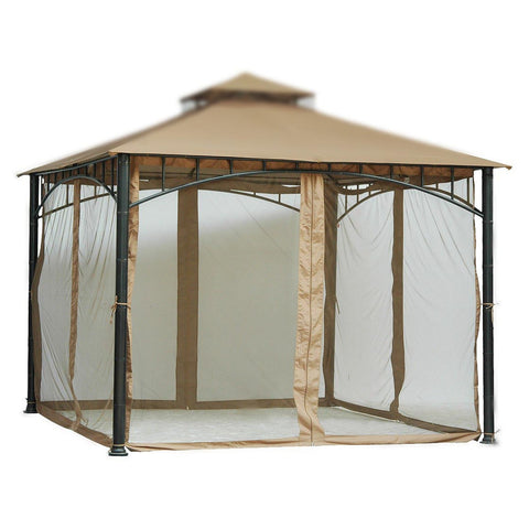 6.5 ft (78 in) Tall Beige Mosquito Net ONLY for 10x10 Gazebo w/ Velcro Straps