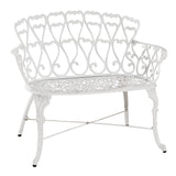 Antique Victorian Cast Aluminum Patio Dining Loveseat / Bench - White Heart