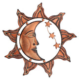 """Sun Moon Stars Celestial Face"" Metal Wall Decor"