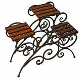 Antique Rustic Metal 3 Stairs Flower / Plant Stand Wood Trays Vine Patterns