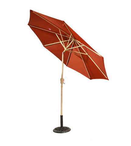 9 ft Bright Red Aluminum Patio Market Umbrella with Crank and Tilt