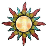 Colorful Swirling Sun Indoor Outdoor Metal Wall Art with Glass