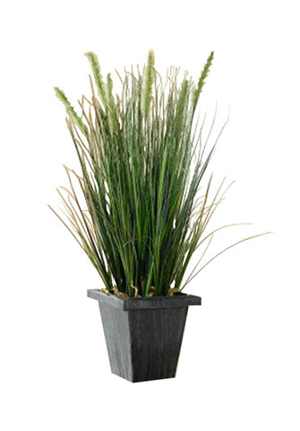 22 in Artificial Grass in Dark Square Pot, Tall