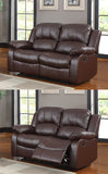 3 Piece Bonded Faux Leather Motion Recliner Sofa, Loveseat, Chair Set, Espresso (Total 5 Recliners)