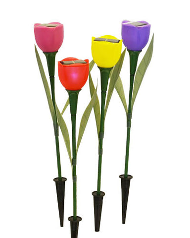 4 Pack Assorted Color Solar Tulip Lights - Landscape Ornament