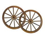 24 in Steel-rimmed Wooden Wagon Wheels - Decorative Wall Decor, Set of Two