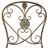 Folding Metal Bistro Chair w/ Scrolling Heart & Peacock Tail Motif, Set of Two