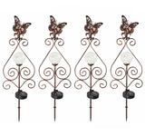 4PK Butterfly Solar Gazing Ball Garden Stake Lights with Scroll Accent