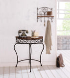 Boston Metal Half Moon Console Table with Wood Top, Scroll Accent, Dark Brown