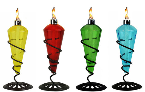 4 Pack 11 in Assorted Color Table Top Torch - Burning Citronella / Lamp Oil