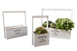 Flowers & Plants Painted White Planters for Garden or Patio, Set of Three