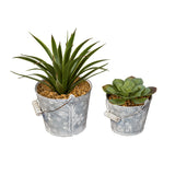 Zinc Bucket Planters with Flower Patterns, Set of 2
