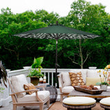 9 ft Aluminum Patio Umbrella Outdoor Garden Yard Deck Table Umbrella with Cover, 8 Sturdy Ribs, Crank Open, Push Button Tilting, Green / Coastal Tree Umbrella