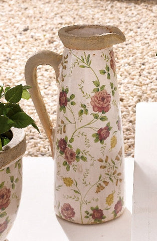 Porcelain Water Jug - Floral Patterned with Contrasting Handle, Tall