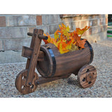 Rustic Wood Whiskey Barrel Planter on Tricycle / Scooter