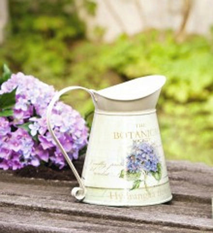 "7"" Decorative Cream Colored Metal Pitcher w/ Hydrangea Motif"
