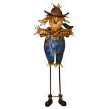 Free Standing Decorative Autumn Scarecrow Boy with Bird Yard Art