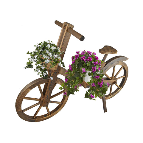 31.5 in. Tall Rustic Wooden Bicycle Garden Plant Stand