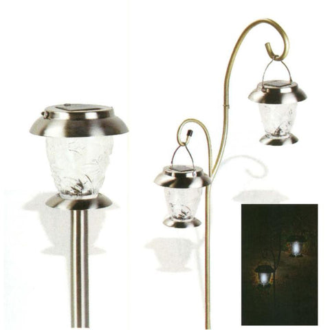 2 Pack Stainless Steel Dual Mount Solar Lights with Shepherd's Hook and Stake
