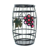 Metal Wine Barrel Cork Cage Holder with Glass Grapes Accent
