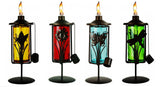4 Pack 11 in. Assorted Color Table Top Torch with Nature Accent Metal Stand - Burning Citronella / Lamp Oil