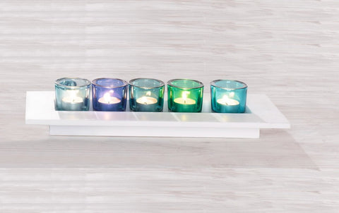"""Azur"" Five Glass Votive Candle Holder Set with White Wood Tray"