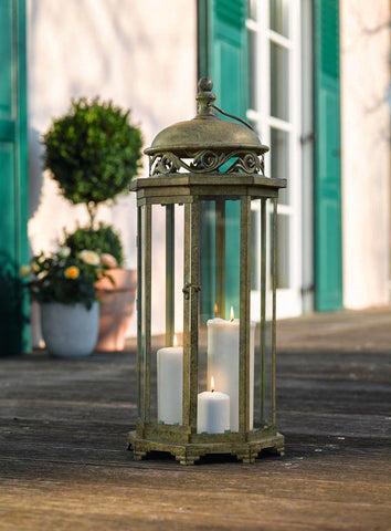 Large 24.4 in. Metal Moroccan Hanging Candle Lantern, Clear Glass