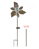 47 in Tall 3D Metal Flower Wind Spinner Garden Stake with Solar Crackle Glass Ball