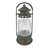 Rustic Metal Candle Lantern with Fluted Glass Candle Holder