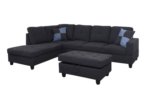 3 Piece Linen Contemporary Left-facing Sectional Sofa Set with Ottoman, 2 Accent Pillows, Charcoal Gray