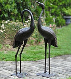 Antique Bronze Garden Crane Pair Statue - Upright and Preening Sculpture Set