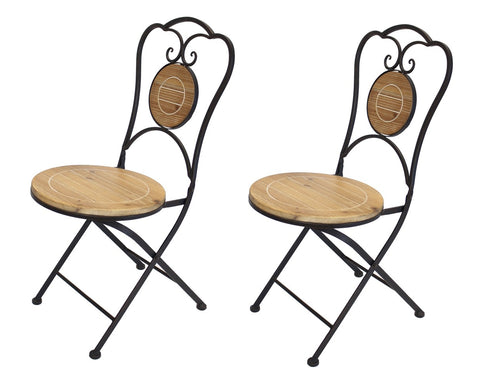 French Café Bistro Folding Chair, Black Metal Frame, Wood Round Seat, Set of 2