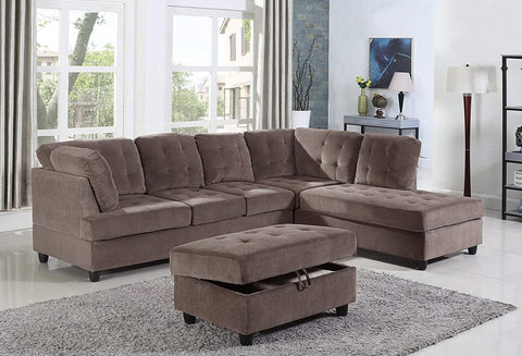 3 Piece Corduroy Contemporary Right-facing Sectional Sofa Set with Ottoman, Espresso