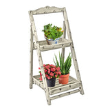 26 in. Tall Foldable Wooden Plant Stand for Outdoor or Greenhouse, Two Shelves