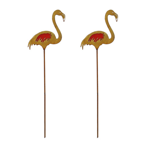 2PK Rustic Flamingo Metal Garden Picks with Red Glass Feather Accent